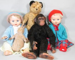 Collection of vintage toys including a Dean's Rag Book 'Childsplay' chipanzee length 58cm, a teddy