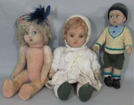 3 character dolls each with a moulded felt face and painted features. Smallest is Lenci type with