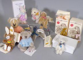 10 miniature teddy bears/ soft toy animals including Steiff sheep 34961, Steiff rabbit keyring