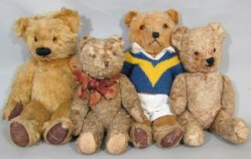 4 small Teddy bears, all with jointed body, stitched nose and mouth and glass eyes, including a bear