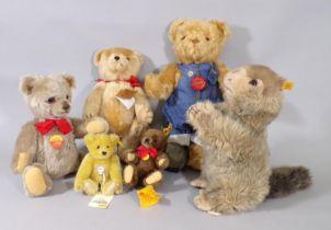 6 soft toys by Steiff and Hermann including Steiff 'Molly Piff' groundhog, a Steiff Brummbär (no