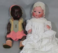 2 Armand Marseille Dream Baby Dolls, both mould 351 with 5 part bent limb composition bodies;