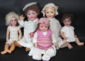 A collection of 5 early 20th century German bisque head character dolls, all with composition bodies