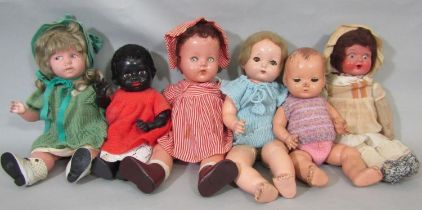 6 small vintage dolls including a composition doll height 33cm with closing blue eyes, neck