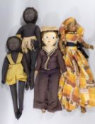 4 unusual vintage cloth dolls all with moulded cloth face and painted features, including 2 unmarked