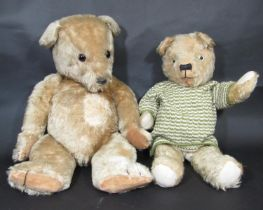 2 mid 20th century teddy bears including a large bear probably by Chiltern with jointed body,