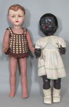 2 vintage mechanical walking dolls, the first is French by Gégé circa 1940's, 60cm tall with painted