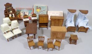 Collection of hand made dolls house furniture for bedroom and dining room together with 3 vintage