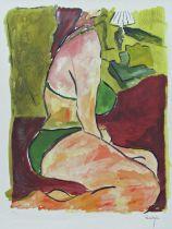 Bob Dylan (B.1941) - 'Woman on a Bed', signed, limited 216/295, Giclée print, Washington Green