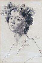 Augustus John (1878-1961) - Bust portrait of a girl, signed, charcoal on paper, 27 x 18cm, framed
