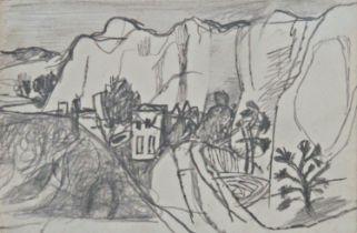 Keith Vaughan (1912-1977) - 'Landscape Under Cliffs', unsigned, inscribed Anthony Hepworth Fine