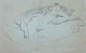 Sir Matthew Smith (1879-1959) - Reclining nude, unsigned, work in graphite on paper, 30 x 51cm, with