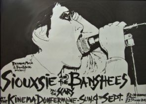 Vintage Siouxsie and The Banshees tour poster, at The Kinema, Dumfermline, 84 x 118cm, framed
