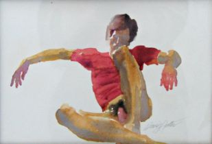 David Hutter (1930-1990) - 'Red Jersey', signed, watercolour, 17 x 25 cm, framed