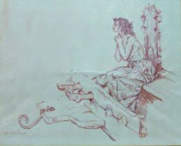 William Russell Flint (1880-1969) - 'The pretty gypsy in the stocks', signed, signed and titled