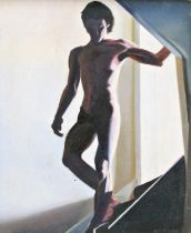 Diccon Swann (born 1947) - Nude figure on the staircase, signed and dated 89, oil on board, 14.5 x