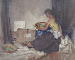 William Russell Flint (1880-1969) - 'Girl with Green Apples', signed, dated 1960, Frost & Reed and