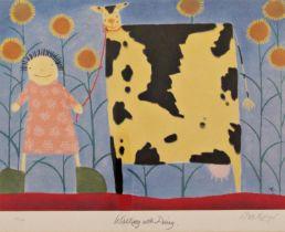 Mackenzie Thorpe (B.1956) - 'Walking With Daisy', signed, limited 214/750 colour print, Washington