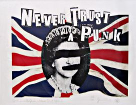 Jamie Reid (B.1947) - 'Good Save The Queen - Never Trust a Punk', signed, limited 40/100 digital