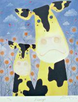 Mackenzie Thorpe (B.1956) - 'Daisys', signed, limited 698/750 colour print, Washington Green blind