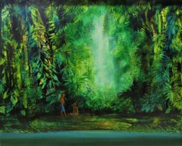 Paul Osborne Jones (1921-1997, Australian) - 'New Guinea Jungle', signed, mixed media on board, 75 x