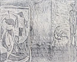 Peter Lanyon (1918-1964) - Figural study, unusual wood block type print, unsigned, 30 x 36cm, framed