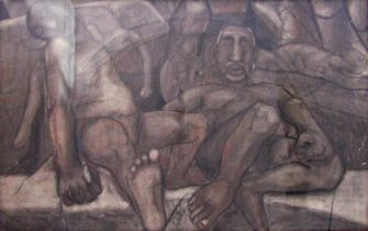 Louis Maqhubela (B.1939) - 'Fallen Kings', signed, inscribed Piccadilly Gallery label verso, figural