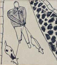 20th century school - Study of a figure walking two dogs, monogrammed AV and dated 98, work in