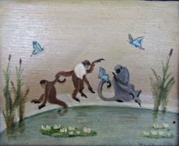 John Spencer Churchill (1909-1992) - 'Monkey's with Butterflies', signed, signed, titled and dated