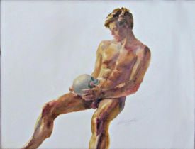 David Hutter (1930-1990) - 'Memento Mori', signed, watercolour, 38 x 53 cm, framed