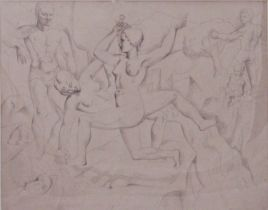 Christopher Wood (1901-1930) - 'Beach Party', signed and dated 1922, large graphite study on