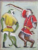 John Spencer Churchill (1909-1992) - 'A Green Monkey and a Pigtail Monkey Dancing', signed, signed