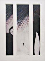 Mackenzie Thorpe (B.1956) - 'In The Rain', monogrammed, pastel, triptych, Halcyon Galleries label