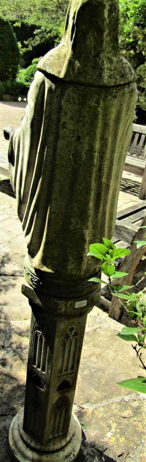 A good quality weathered figure of a hooded monk, raised on a hexagonal plinth with ecclesiastical - Image 5 of 5