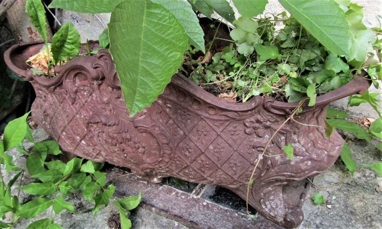 A cast iron planter in the rococo manner with repeating floral detail, raised on scrolled