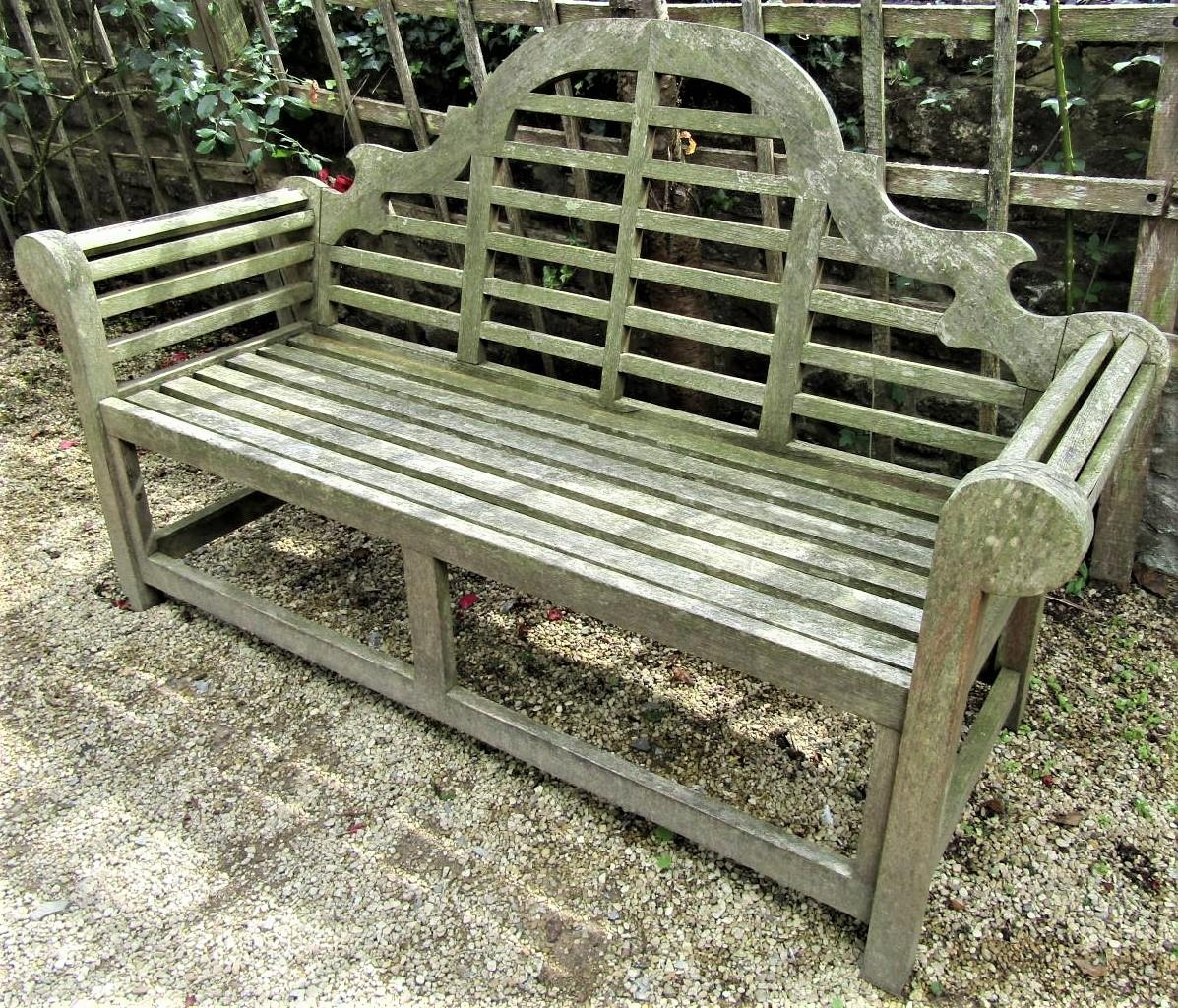A weathered teak wood garden seat in the Lutyens manner, 165cm wide - Image 2 of 2
