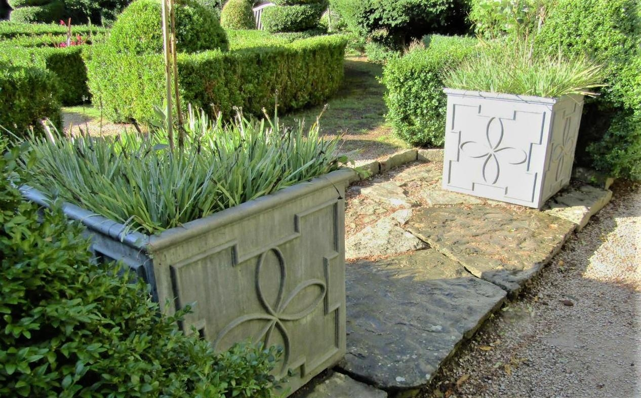 A pair of high quality Georgian style lead planters of square cut form with repeating geometric - Image 2 of 2
