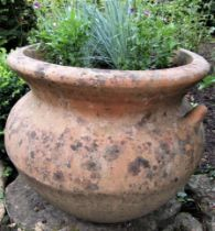 A weathered terracotta planter with simple lug handles, 45cm diameter