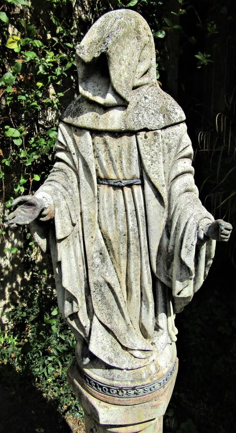 A good quality weathered figure of a hooded monk, raised on a hexagonal plinth with ecclesiastical - Image 2 of 5