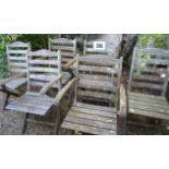 Six vintage folding garden chairs