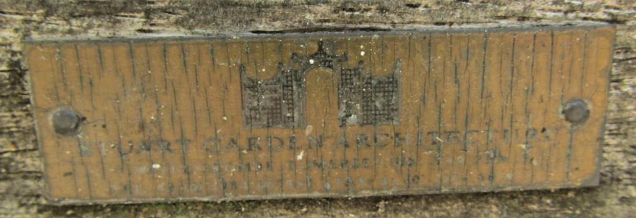 Good quality weathered teak park bench, 240cm long - Image 2 of 2