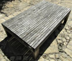 Good quality weathered teak low garden occasional table with slatted top, 115cm x 70cm x 33cm