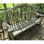 A weathered teak garden bench, 160cm wide