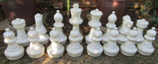 A set of large plastic chess pieces (full set) for garden use