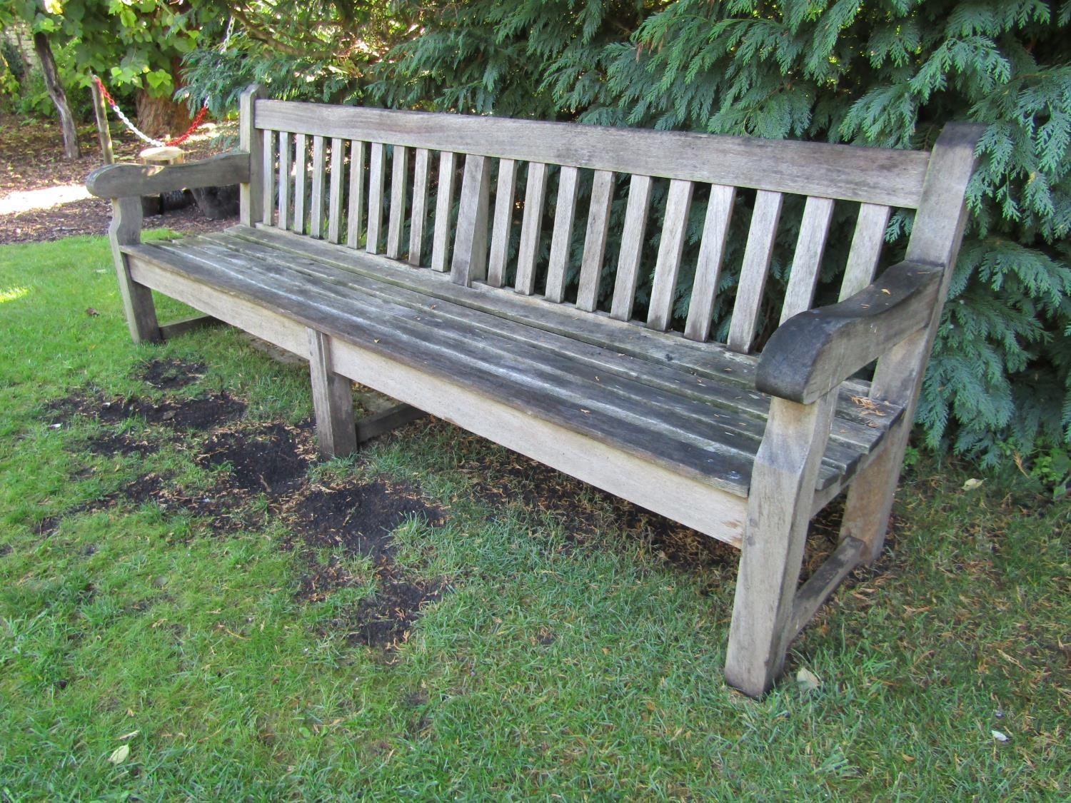 A good weathered teak wood garden bench, 240cm wide - Image 2 of 2