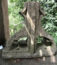 An ancient Gothic limestone pinnacle with carved and pierced detail, 56cm high x 60cm wide x 28cm