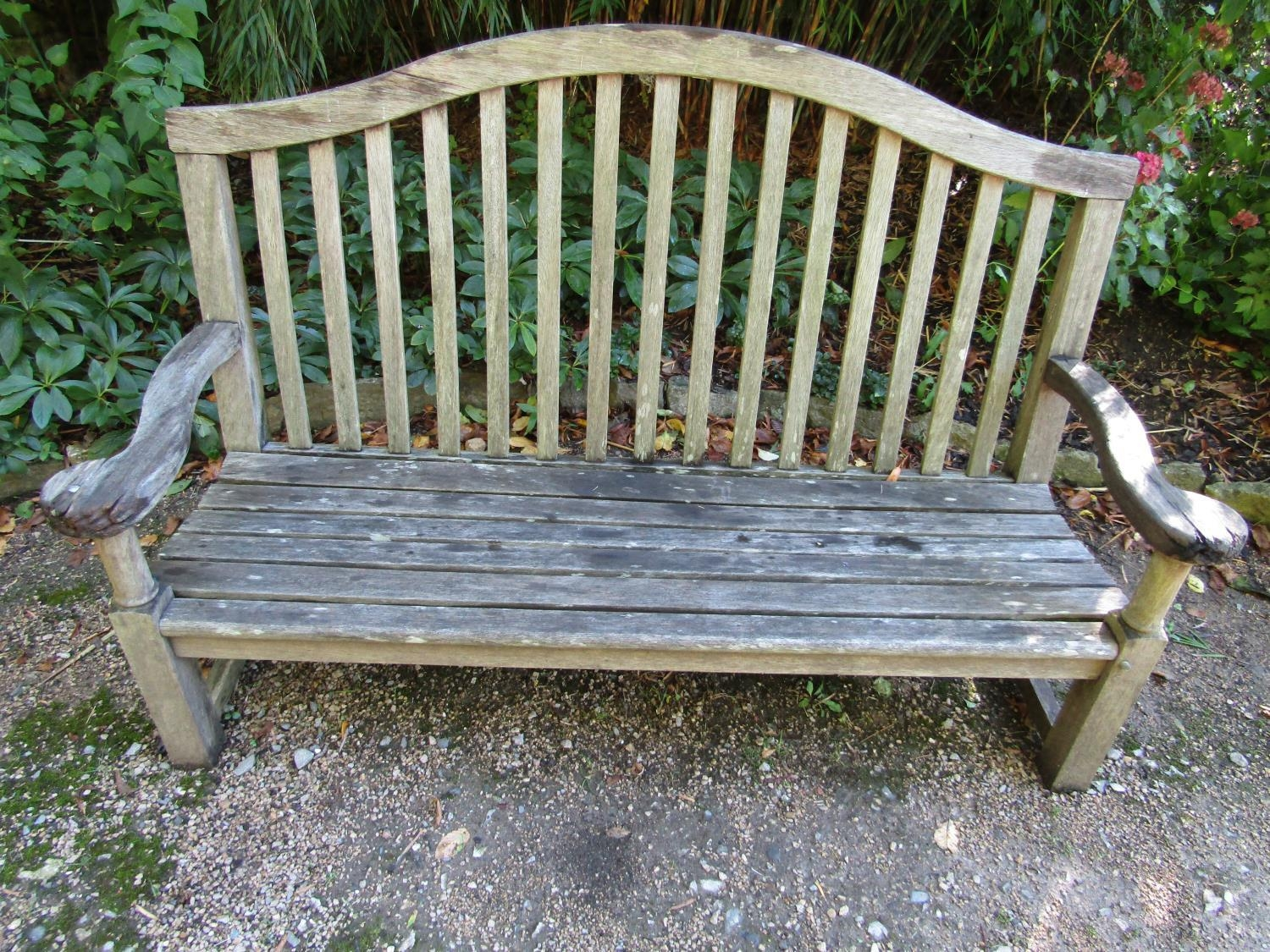 A weathered teak wood garden bench, 160cm wide - Image 2 of 3