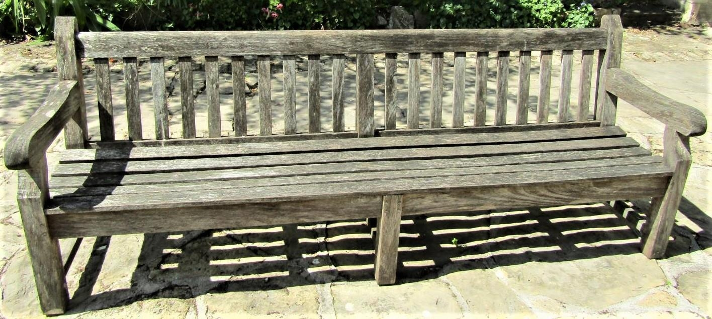 Good quality weathered teak park bench, 240cm long