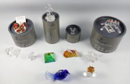 A group of Swarovski glass, four toucans on a branch, boxed, others including a sea horse, humming
