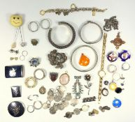 Jewellery including an Edwardian white metal and paste locket brooch, Thai white metal jewellery,